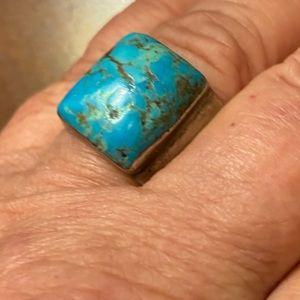 Old Pawn Early Old Style Turquoise Navajo Ring